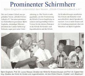 Prominenter Schirmherr Björn Engholm unterstützt den Verein Clinic-Clowns Lübeck e.V.