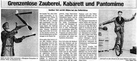 Grenzenlose Zauberei, Kabarett und Pantomime - Gunther Veh vertritt Hilden bei der Kulturbörse