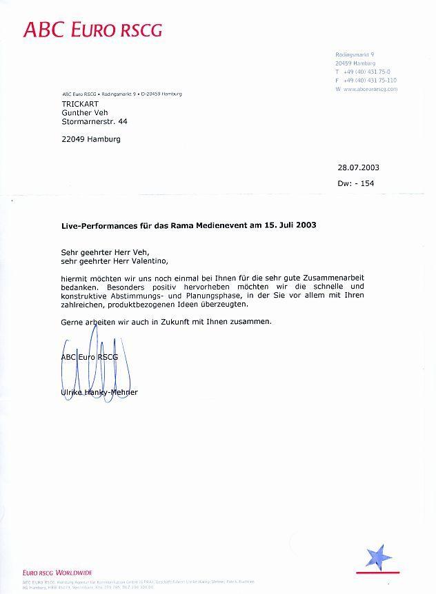 Brief Für Zusammenarbeit : Briefliche referenzen trickart ist gunther veh